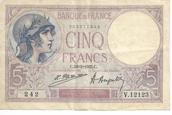 Billet de 5 Francs Type Violet 1923