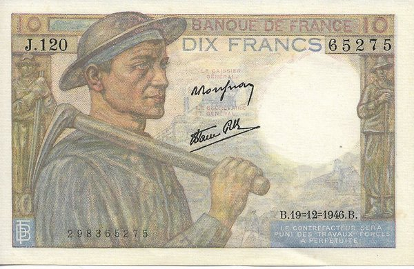 Billet de 10 Francs Mineur type 1946